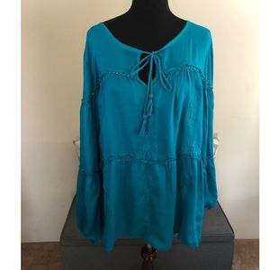 Lane Bryant Turquoise Tiered Peasant Top 26/28
